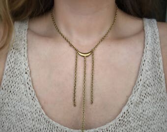 Boho layered lariat necklace, Y necklace long drop, Gold lariat, Simple layering necklace, Boho jewelry, Girlfriend gift