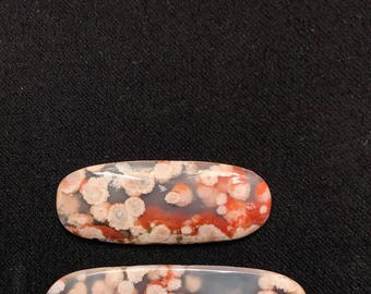 Red and white plume floral agate cabochon