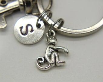Silver Monkey Charm Keychain , Monkey Charm, Monkey Pendant, Personalized Keychain, Initial Charm, Initial keychain, Customized Jewelry