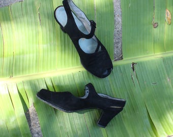 Vintage 1940's Chas A. Stevens & Co. Chicago Black Suede Leather Pumps, Peep Toe, Pin-up, Old Hollywood, Swing Shoes, Lindy Hop, Size - 7AA