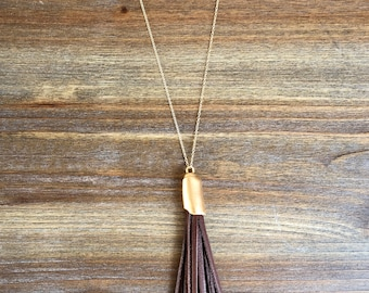 Long Leather Tassel Necklace in Brown