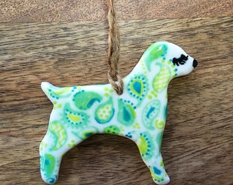 Porcelain Puppy Dog: Short-tailed Turquoise Blue & Chartreuse Green Paisley Pup
