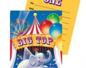 Ringling Brothers Circus ''Big Top'' Invitations w/ Envelopes (8ct each)