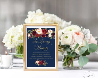 In Loving Memory Wedding Sign, Navy Gold Floral, Memorial Sign, Wedding Printable Signage, Those we love, Memory Sign 8x10 5x7- Kacey Gold
