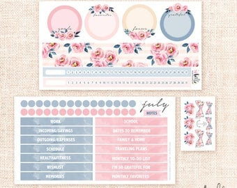 July Notes Page Kit - 2 sheet / for the Erin Condren planner notes pages - Memory keeping, monthly planning