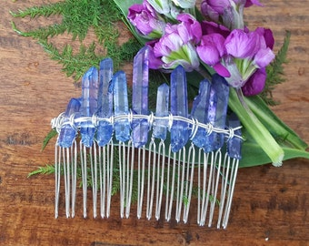 Blue quartz gemstone hair comb, boho bridal headpiece, fairytale gift, wedding hair comb, mermaid hair accessories, festival, something blue
