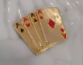 Vintage Aces Brooch, Wild Aces Gold Tone Vintage Brooch, Poker Hand Lucky Hand Brooch, Vintage Good Luck Charm Poker Four Aces Brooch