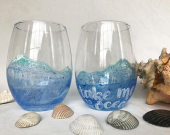 Stemless Wine Glass, Cute Wine Glasses, Stemless Wineglasses, Beach Wine Glass, Decorated Wine Glass, Hand Painted Wine Glass, Ocean Wine