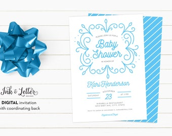 Blue Baby Shower Invitation - Modern Baby Shower Invitations - Digital Baby Shower Invitation - Printable Invitation - Boy Baby Shower