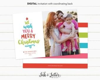 Christmas Photo Card - Printable Christmas Card - Digital Christmas Card - 5x7 Digital Holiday Card - We Wish You a Merry Christmas