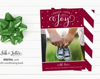 Christmas Pregnancy Announcement - Pregnancy Announcement Card - Christmas Photo Cards - Printable Christmas Card - Digital Christmas Card