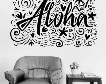 Wall Vinyl Decal Aloha Quote Decor For Hotel Room  (#2696dn)