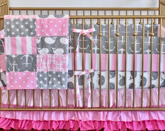 Gray and Pink Anchors Crib Bedding, nautical,Baby Girl, modern nursery, pastel colors, grey, pink, whales, ocean, sea,