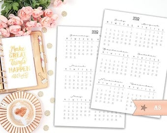 A5 2018 yearly overview printable planner insert - Filofax A5 - Kikki K Large - print at home - planner refill - 2018 planner
