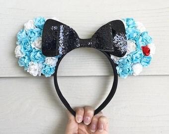 Alice Floral Ears / Alice in Wonderland Disney Disneyland Disneybound / Blue White Black Glitter Bow Headband / Minnie Mickey Mouse Ears