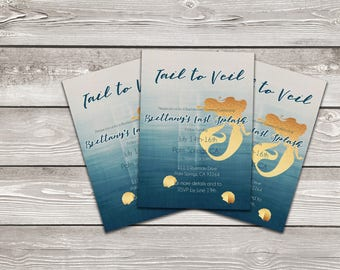 Printable Customized Mermaid Bachelorette  Invitation (5x7 or 4x6)- DIGITAL FILE ONLY