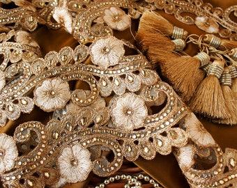 Gold Floral Trim, Rhinestone Trim, Cutwork Trim, Indian Fabric Trim, Bridal Wear Embellishment, Indian Ribbon, Rhinestone Trim - 1 yard