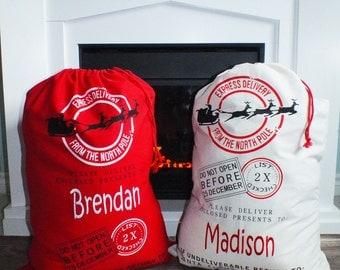 SALE!!! Christmas Sack - Santa Sack - Christmas Gifts - Christmas tote - Holiday Sacks - Holiday Bags - Santa Sack