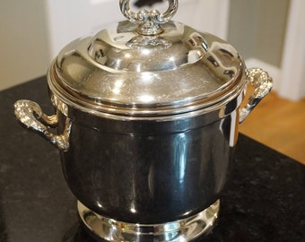Oneida Silver Ice Bucket with Milk Glass Insert/Engraved/1975/ Vintage Barware/