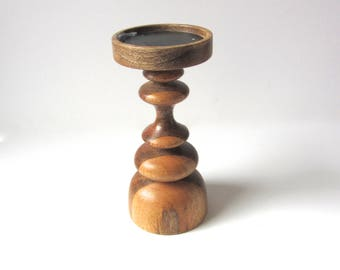 Turned Wood Candlestick
