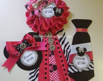 Hot Pink and Black Minnie Baby Shower Mommy to be Corsage/Hot Pink and Black Minnie Baby Shower Mommy to be Pin/Pink and Black Minnie Shower