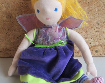 """Fairy doll, collectible art doll, Aurelia, Waldorf inspired, organza wings, lilac dress, blond hair, collectors's doll, 12 1/2"""""""