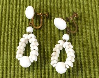 White ceramic screw fastener dangley earrings