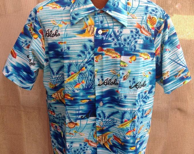 Vintage 70s Aloha Waikiki '76 Blue Orange Polyester Deep Sea Fish Print Mens Button Short Sleeve Camp Hawaiian Shirt