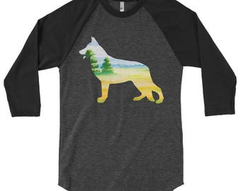 Double Exposure German Shepherd And Landscape 3/4 sleeve raglan shirt