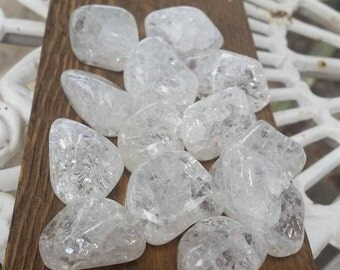 "Tumbled Crackle Quartz Stones(1) XL~ Approx. 1"" - 1.5"" ~ Randomly Selected ~ Rainbows~ Master Healer ~ Powerful ~ High Vibration~ Meditation"