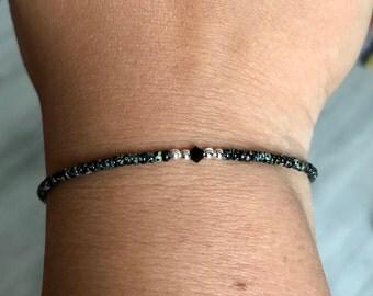 Marbled Black Swarovski/miyuki bracelet, Swarovski bracelet, Black bracelet, miyuki bracelet, boho bracelet, Dainty bracelet, Christmas