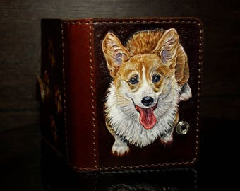 Hand-tooled women's wallet, leather wallet, tooled corgi wallet, dog lovers wallet, leather purse, gift for her, corgi purse, dog wallet