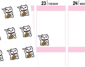 Maneki Neko Planner Stickers, Fortune Cat, Chinese Food