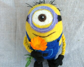 Felted wool toy. Minion. 18 cm. Handmade