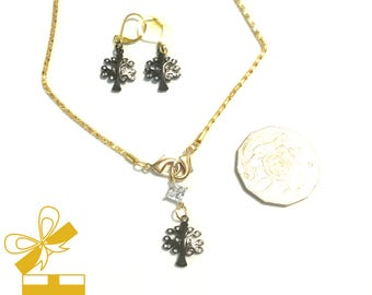 Tree of Life Pendant Set, Gunmetal Pendant and Earrings, Cubic Zirconia Gift for Her, Unique Earring and  Pendant Set, Cherished Gift