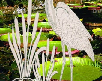 "Right Facing Egret & Cattails Oval Static Cling Window Decal 8"" X 12"" (Rev) - Clear w/ White Design"