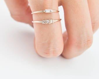 Three Rose cut diamond ring, Rose cut diamond ring, engagement ring, wedding ring, solid gold ring, unique engagement ring, stacking ring