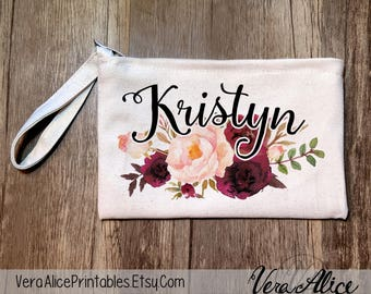 Personalized Pencil Pouch, Bridal Party Favor, Custom Cosmetic Bag, Bachelorette Makeup Pouch, Wedding Party Gift, Personalized Floral Pouch