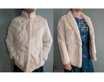 Vintage Rabbit Fur Coat Blazer, 1980s Boho Fur Coat, Hobo Fur Coat, Vintage White Bridal Fur Coat, Bohemian Coat, Snow Bunny Jacket, Medium