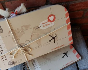 "All wedding suitcase box ""Journey"" + guestbook (medium size model)"