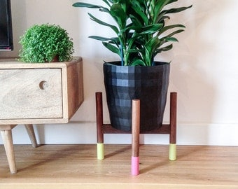 NEON painted Walnut hardwood mid-century plant stand. Beautiful, cool hand crafted design.