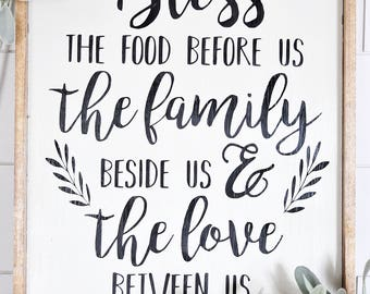 Bless | Family | Love | Wood Sign | Bless The Food Before Us | Home Decor | Framed | Script | The Family Beside Us | The Love Between Us