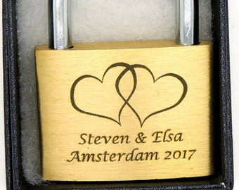 Engraved Padlock, 8 Styles, BOLD PERMANENT ENGRAVING + Black Gift Box. 40mm Personalised Love Lock.