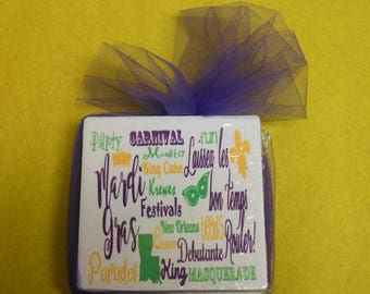 Mardi Gras Coaster Set of Four(4)