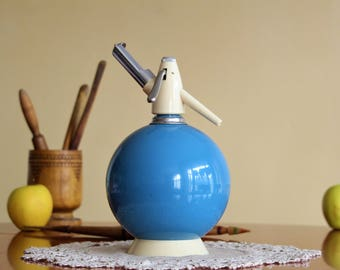 Blue Soda Siphon - Sparklets Seltzer Bottle - Vintage Soda Bottle - Glass Siphon - Bar Decor - Housewarming Gift - Vintage Barware