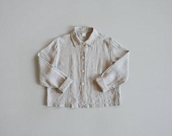 woven linen shirt / vintage crop linen blouse / womens S