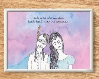 CocoRosie - Illustrated Watercolor Print - Custom Lyrics