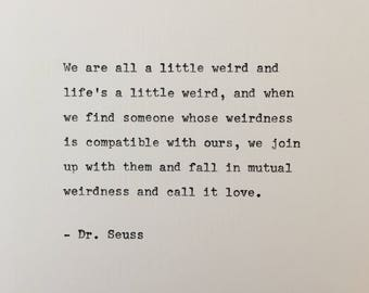 Dr Seuss hand typed on antique typewriter valentines scrapbooking