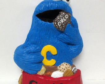 Sesame Street Cookie Monster Chalkware Wall Hanging Plaque Sign Oreo Rare