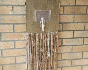 Natural woven tapestry. Woven wall hanging. Wall hanging woven. Wall decor tapestry. Tissage mural. Wall tapestry.